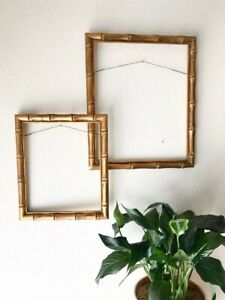 Vintage Wooden 10x12 Frame Gold Bamboo Antique Wood Carving Carved One Frame