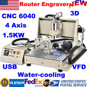 Usb 4 Axis Cnc Router 6040 Engraver Pcb Wood Milling Drilling Machine 1 5kw Vfd