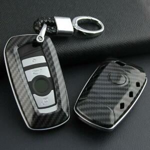 For Bmw Carbon Fiber Car Key Fob Chain Hard Shell Cover Case Holder Accessories