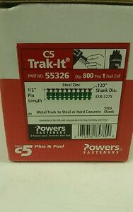 Powers Fasteners C5 Trak it 1 2 Pin 55326 Metal Track To Steel Or Concrete