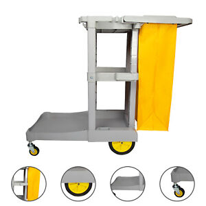 1 2m Janitorial Cleaning Cart Rolling Janitor Uitility Cart 3 Shelves