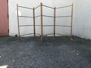Primitive Hedge Airer Clothes Drying Wood Quad Fold Blanket Stand Towel Rack