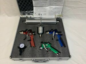 Titan Tools 19221 4pieces Hvlp Triple Setup Gravity Feed Spray Gun Kit W Gauge