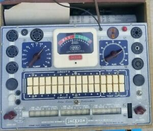 Vintage Jackson Mod 648 Dynamic Tube Tester W box Instruction powers Up