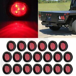 20pcs Red 2 5 For Truck Trailer Round 4led Side Marker Clearance Tail Light Kit