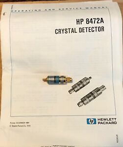 Hp 8472a Crystal Detector 10 Mhz To 18 Ghz Tested