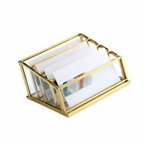 Glass Business Card Holder Vintage Durable Office Name Cards Display Holder