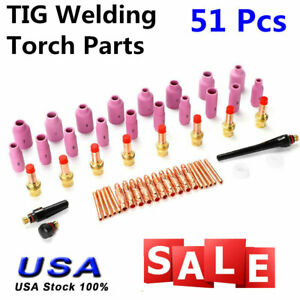 Tig Kit Tig Welding Torch Consumables Accessories Fit Wp 17 18 26 Series 51pcs