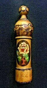 Antique Treen Wooden Hand Carvedpainted Etui Sewing Needle Case Rose 4 Pokerwor
