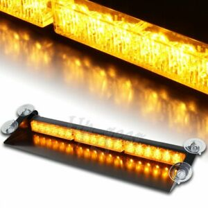 18 Led Amber Yellow Emergency Warning Dash Flash Strobe Light Bar Universal