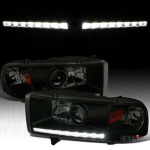 Black Smoke For 1994 2001 Dodge Ram 1500 2500 3500 Led Drl Projector Headlights