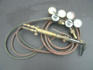Harris Cutting Welding Torch Set 71 Cutting Head 16 Handle With Gauges And Hoses