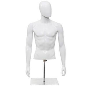 Male Mannequin Human Plastic Half Body Head Turn Dress Form Display W base