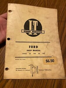 I t Shop Repair Manual Ford Fo 36 Series 1000 1600 Compact Tractor