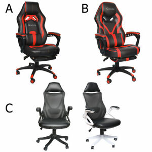 Ergonomic Gaming Chair Racing High Back Leather Office Computer Seat Black White