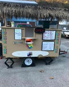 Sno Biz Tiki Style Concession Trailer Solar Snowball Concession Stand For Sale I