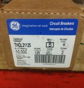 Ge Thql21125 125amp 120 240v 2pole Box 5 Breakers New In Factory Sealed