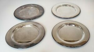 4 Vintage Charger Plates Wma Rogers Oneida Ltd 6 Inch Silver Plated Side Bread