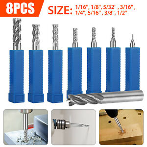 8pc Solid Milling Carbide End Cutter Drill Bit 1 16 1 2 4flute Hss Slot Tool Set