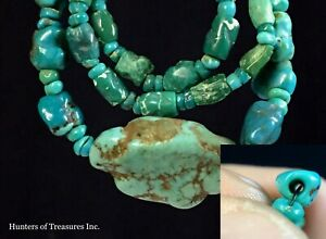Necklace W Ancient Pre Columbian Turquoise Greenstone Beads Moche Native Indian