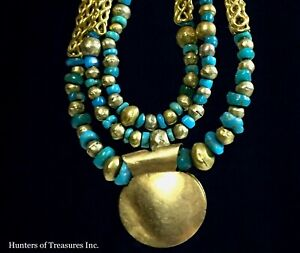 Ancient Pre Columbian Small Turquoise 21 22k Gold Beads Chavin Indian Necklace