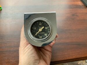 Vintage Stewart Warner Oil Pressure Gauge Mechanical 0 80 With Hanger Bracket