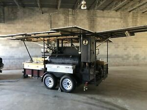2000 6 8 X 12 5 Open Bbq Tailgating Smoker With Trailer For Transport For Sa