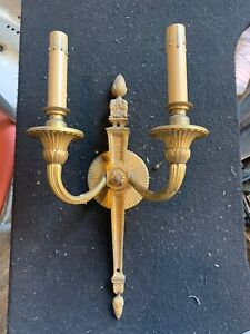 Antique Two Candle Brass Sconce