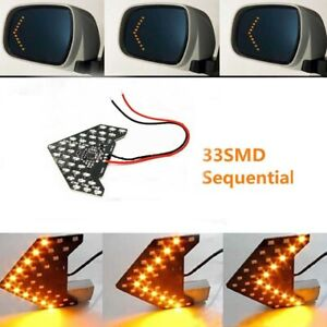 Side View Mirror Arrow Turn Signal 33 Smd Led Sequential Amber Retrofit X 2