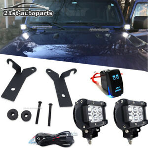 For 18 Jeep Wrangler Gladiator A pillar Hinge Hood Led Fog Light Bracket Kit