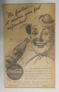 Coca-Cola ad: No Foolin Clown Drinks Coke ! ~ 6.5 x 9 inches from 1940's