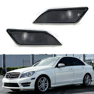 Smoked Lens Front Side Marker Lamp Housings For 12 14 Mercedes W204 Lci C class
