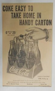 Coca-Cola ad: Coke Easy To Take Home in 6-Pack ! ~ 6.5 x 10 inches from 1940's