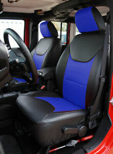 Jeep Wrangler Jk 2013 2017 4doors Black blue S leather Front rear Seat Covers