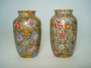 Fine Pair Chinese Porcelain Famille Rose Vases Gold Ground Qianlong Republic