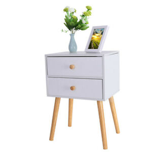 Sofa Bed Side End Table With 2 Drawer Nightstand Cabinet Storage Living Room Us
