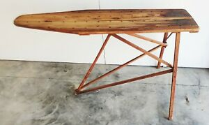 Vtg Early Antique R C Deluxe Wooden Ironing Board Folding Wood Legs Full Size