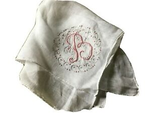 Vintage Wedding Hanky Monogram Letter B Silver Pink Embroidery Handkerchief