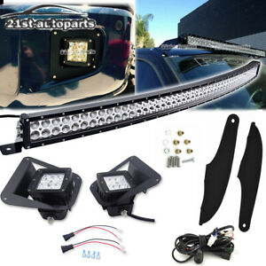 For 14 Toyota Tundra Bumper Foglight Roof 52 Led Curved Bar Bracket Wire Kit