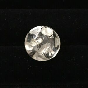 Antique Button Glass Paperweight Clear W Large Silver Flakes