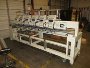Brother 6 head 9 needle Commercial Embroidery Machine With Extras