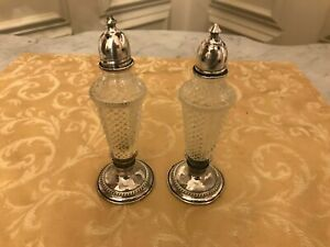 Antique Vintage Sterling Silver Glass Cut Crystal Salt And Pepper Shakers 5 75