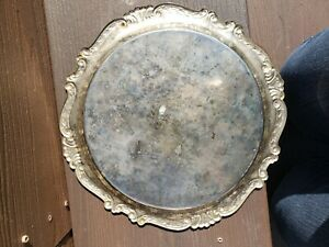 Vintage Silver Plated 12 Round Etched Serving Tray Platter