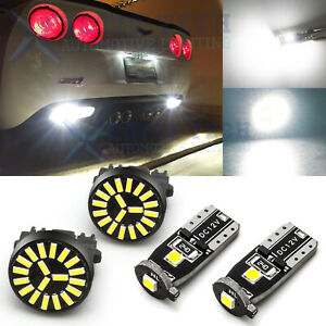 For Corvette C6 2005 13 White Backup Reverse License Plate Lights Led Bulb 4pcs