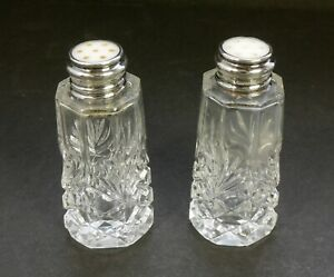 Antique Cut Crystal Mother Of Pearl Sterling Top Salt Pepper Shakers 3 25 Tall