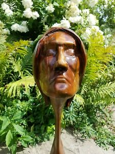 Finely Carved Rosewood Antique Folk Art Ship Figurehead 35 Inches Long