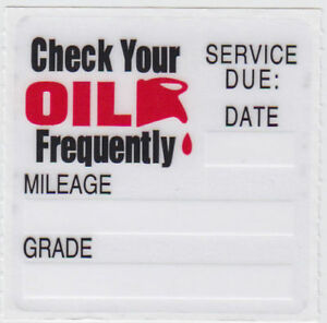 25 Oil Change Clear Static Cling Reminder Stickers Decals Fast Free Shipping