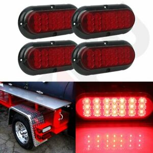 4x 6 21 Led Red 4 Holes Red Universal 12v Car Truck Trailer Side Signal Light