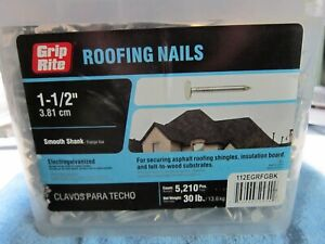 Grip Rite 11 X 1 1 2 In Electro galvanized Steel Roofing Nails 30 Lb pack