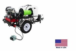 Pressure Washer Jetter Trailer Mounted 200 Gal 8 Gpm 3500 Psi 22 Hp